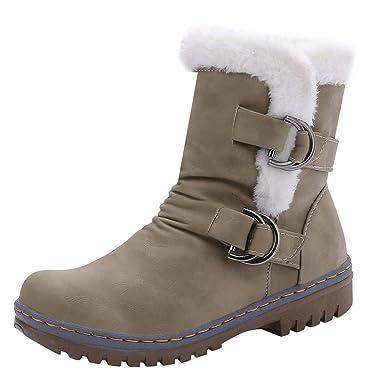 Julywe Damen Winterstiefel Winter Schnalle Snow Boots Warm Pelz  Schlupfstiefel Frauen Winterschuhe Halbschaft Stiefel Flach Outdoor c620227d22