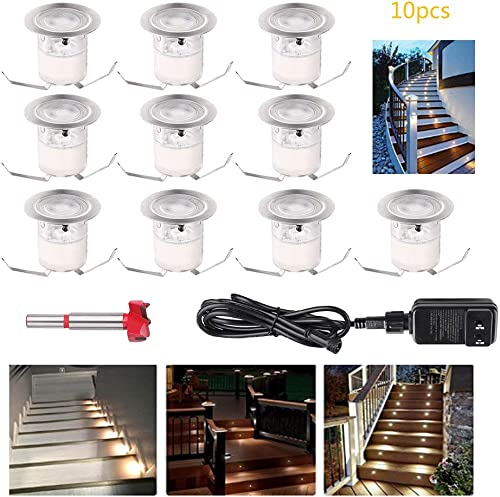 YZGWZLD Low Voltage LED Deck Light 10pack 1.18 1W IP67 Waterproof Recessed Stair Lights for Yard,Garden,Entryways,Basement