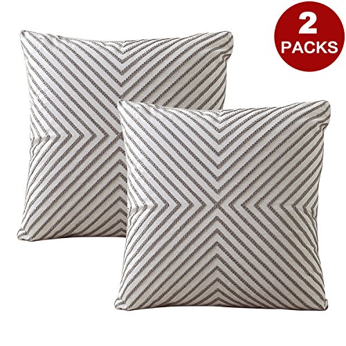 LIFONDER Embroidered Cushion Covers Pillow Cases - Home Decor Accent Gray Line Stripe Pattern Cotton Canvas Throw Pillow Covers for Living Room Sofa Couch/Bedding, 18x18 Inches, Set of - Canvas Stripe Grey