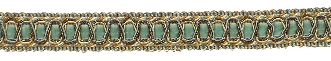 DecoPro Vintage 1 Inch (2.5cm) Wide Silver Blue, Gold, off- Style# 100HG, Color WhiteGimp Braid Trim - Style# 100HG, Color Island Breeze 5939 (Sold by The Yard)