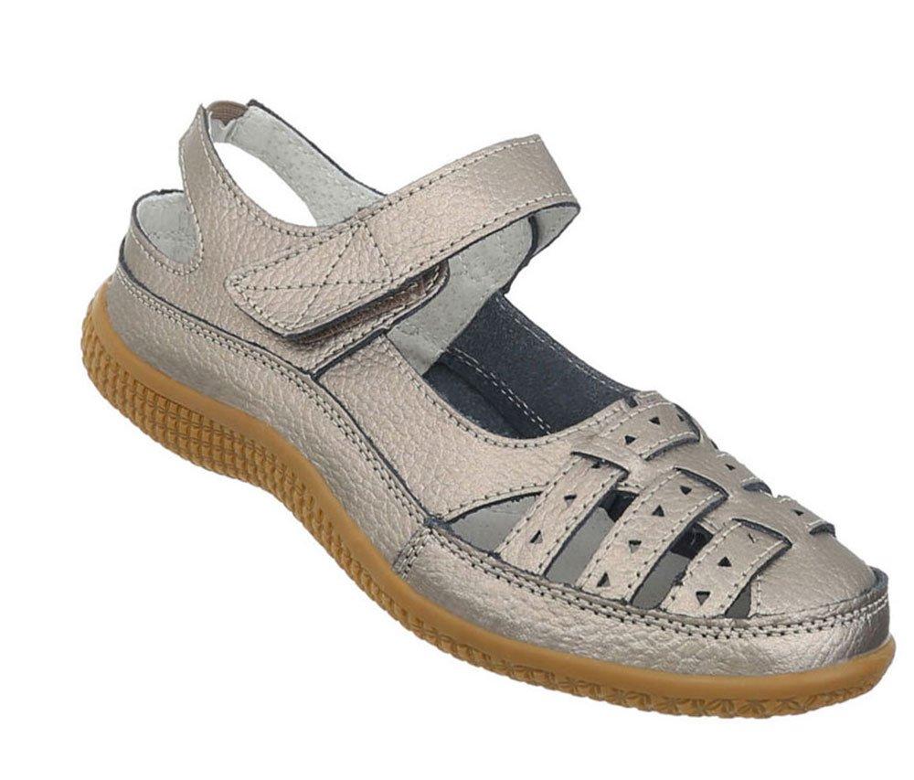 Damen Schuhe Sandalen Leder Klettverschluszlig;35 EU|Bronze