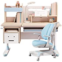 Adjustable Height Kids Study Desk with Chair Drafting Table Computer Station Built-in Bookshelf Hutch Multi Function (Blue)