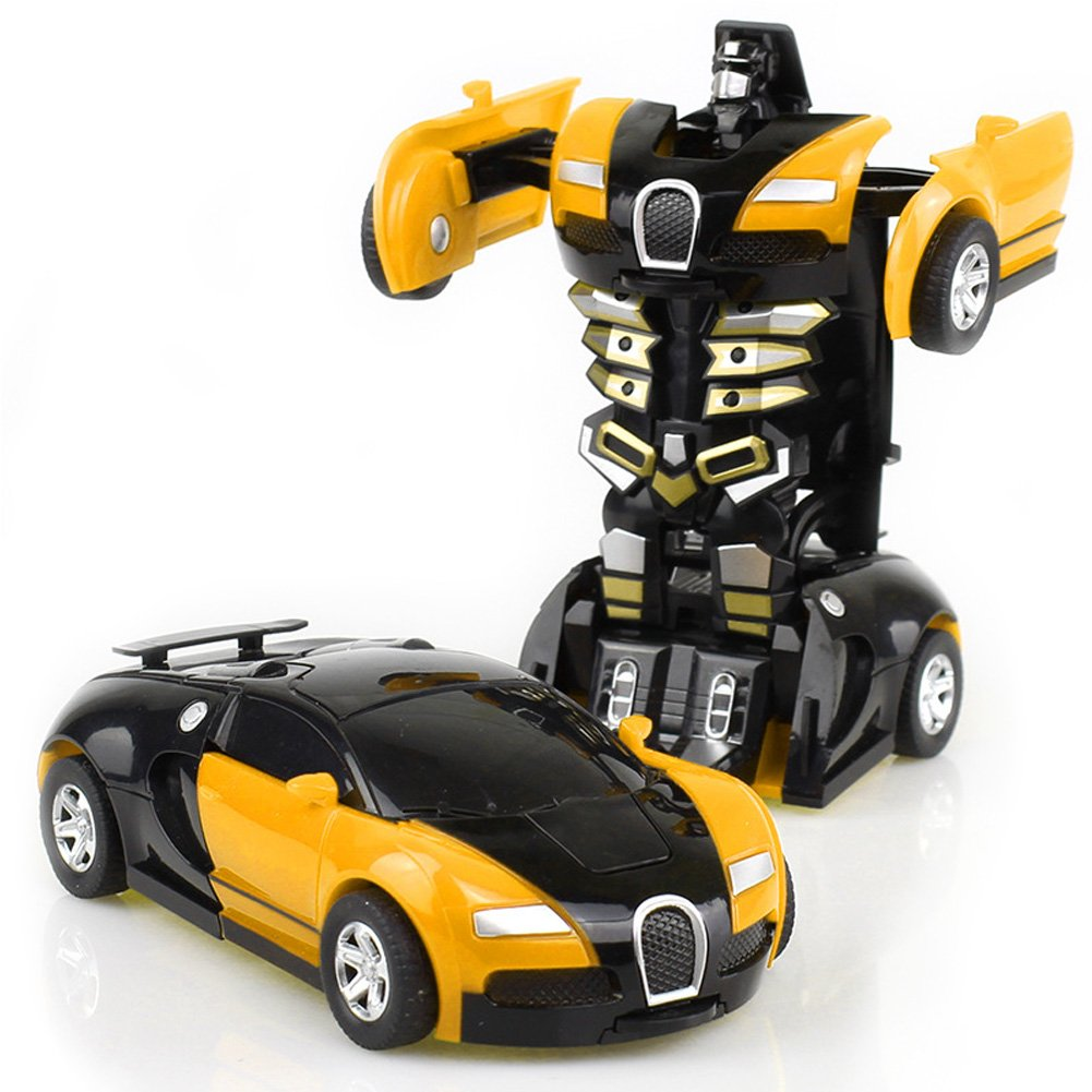 halova toy car robot deformation car model toy for children kids and toddlerscrash to transform yellow