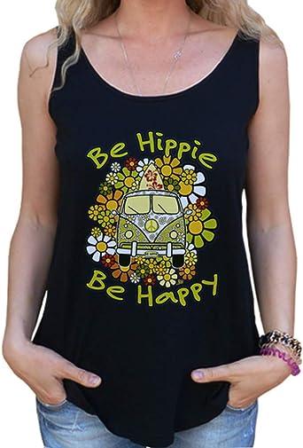 latostadora - Camiseta Be Hippie Be Happy para Mujer Negro XL ...
