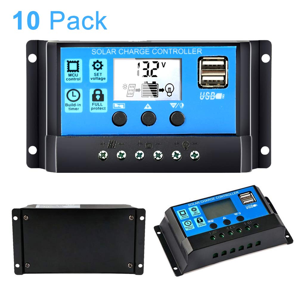 30A Solar Charge Controller 12V/24V, Solar Panel Controller 30 Amp PWM Auto Paremeter Adjustable LCD Display Solar Regulator with Dual USB Load Timer Setting ON/Off Hours (10 Pack)