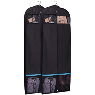 KIMBORA 60  Black Garment Bag Breathable Travel Storage with 2 Large Mesh Pockets and Carry Handles for Suits, Dresses, Coats, Tuxedos Cover (Pack of 2)