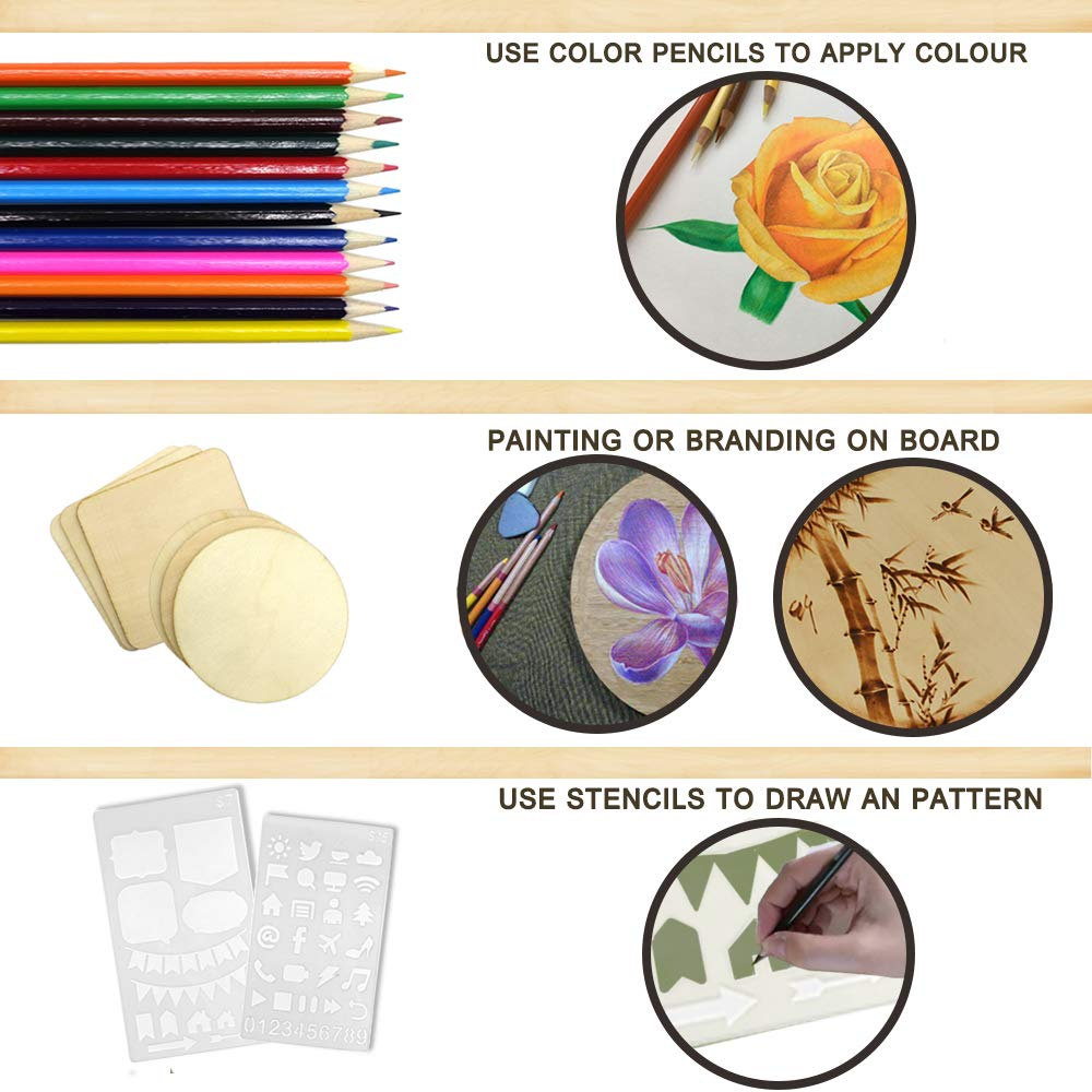 82 PCS Wood Burning Kit, Creative Wood Burner Tool with Adjustable On-Off Switch Control Temperature 200~450 ℃ Professional Wood Burning Pen and Various Wooden Carving/Embossing/Soldering Tips by PETUOL (Image #6)