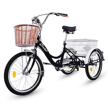 Riscko Triciclo para Adultos con Dos cestas (Negro): Amazon.es: Deportes y aire libre