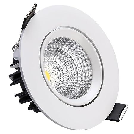 Splindg Moderno Empotrable 5W LED Downlight Inclinación Ajustable Twist COB Spotlight Perla Blanco Luz de Techo Material de Aluminio Luminaria (Color : Warm ...