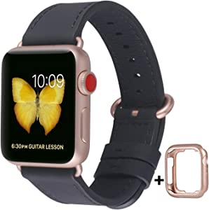 JSGJMY Compatible with Apple Watch Band 38mm 40mm 42mm 44mm Women Men Genuine Leather Replacement Strap for iWatch Series SE 6 5 4 3 2 1 (Black with Series 5/4/3 Rose Gold Clasp, 38mm/40mm M/L)