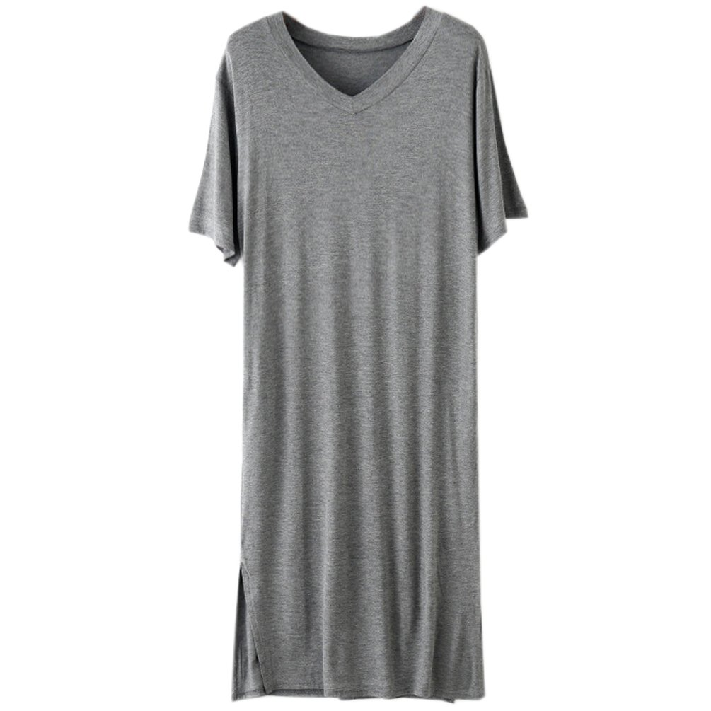 ENJOYNIGHT Women\'s Sleepshirt V-Neck Nightgown Short Sleeve Sleep Dress With Pocket (X-Large, Dark Gray)