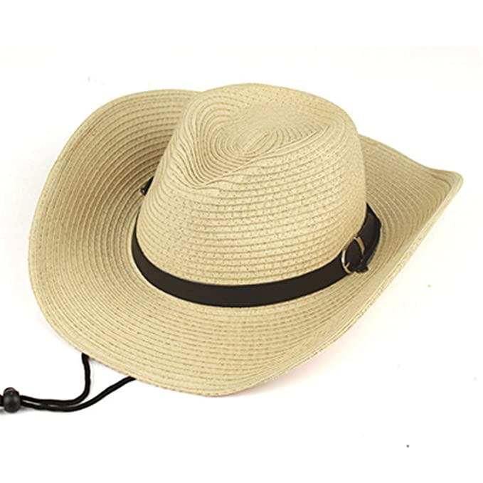 3d7dcaa587444 Straw Hats Summer Beach Cowboy Hat with Western Cowgirl Hat Sun Protection  Beach Hat Beige