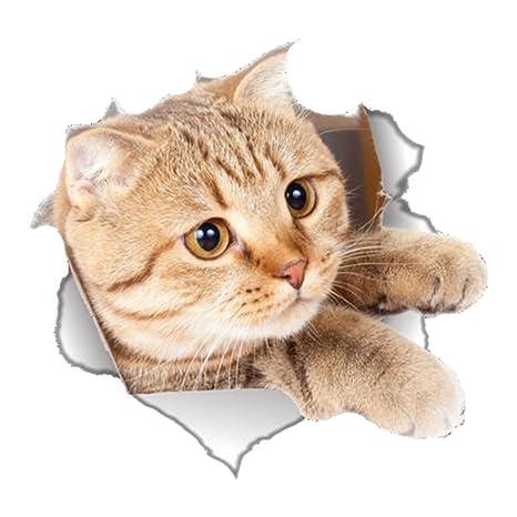 Wa Etiqueta Adhesiva de Pared de Vinilo Diseño Decorativo de Gato para WC