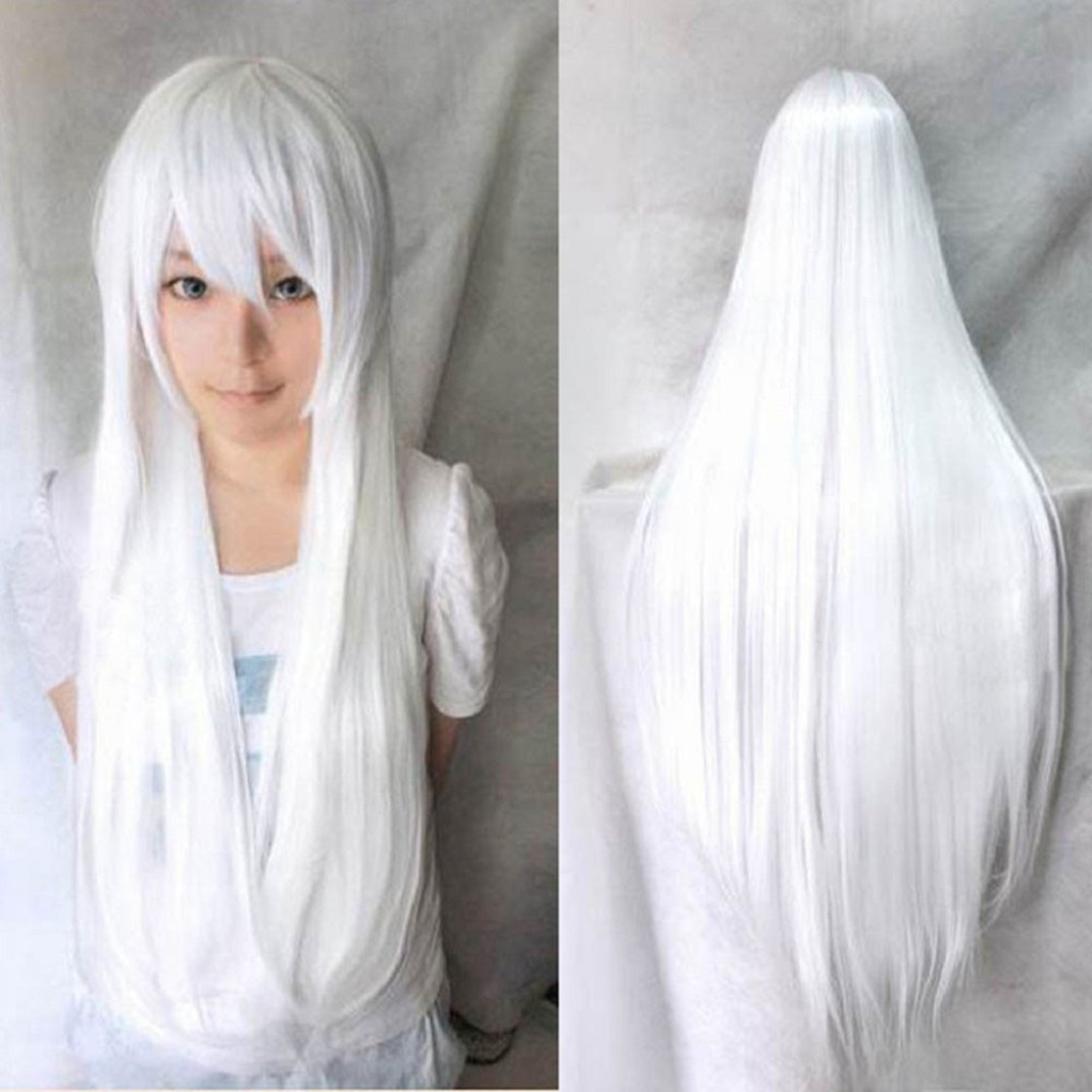 white Shensee 80CM Long Straight Cosplay Wig Multicolor Heat Resistant Full Wigs