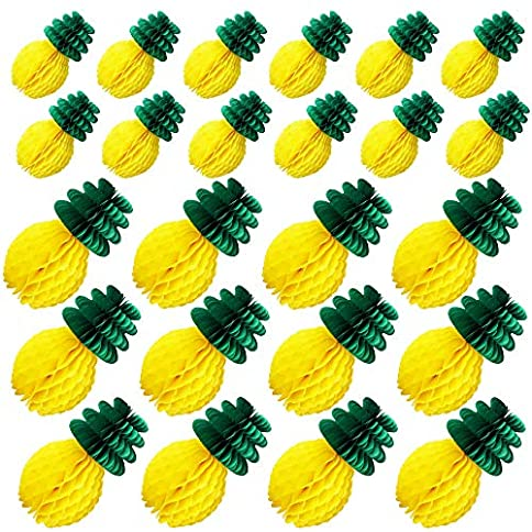 - 61MdiJQvTgL - Nilos 24 Pack Tropical Hawaiian Party Decorations, Tissue Paper Pineapples Party Supplies, 8 Inch and 12 Inch Pineapple Honeycomb Centerpieces for Tropical Luau Hawaiian Jungle Party Table Hanging Decorations