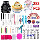 Cake Decorating Supplies 2019 Upgrade 282 PCS Baking Set with Springform Cake Pans Set,Cake Rotating Turntable,Cake Decorating Kits, Muffin Cup Mold, Cake Baking Supplies for Beginners and Cake Lovers
