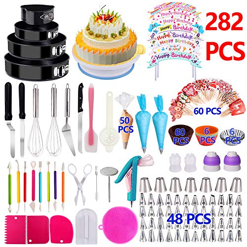 Cake Decorating Supplies 2019 Newest 282 PCS Baking Set with Springform Cake Pans Set,Cake Rotating Turntable,Cake Decorating Kits, Muffin Cup Molds, Cake Baking Supplies for Beginners and Cake Lovers