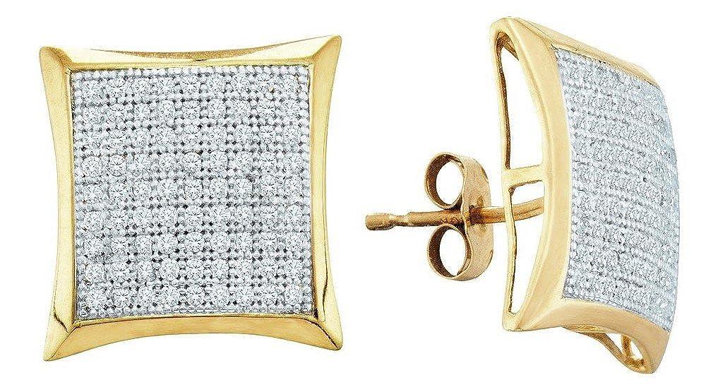 Con precio barato para obtener la mejor marca. 10 K K K de oro amarillo de 0,50 diamante Micro Pave Set pendientes TPM - oro de mayor grado que 9ct oro  aquí tiene la última