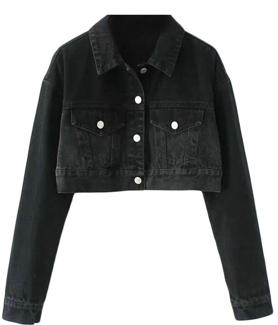 XQS Women' Casual Button Down Crop Top Washed Jean Jackets Black XXS
