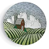iPrint 8'' Ceramic Decorative Plates Farm House Decor Ceramic Decorative Plates Woodcut Style Illustration of a Rural Wooden Shack Scene Drawing Country Life