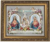 Gerffert Collection Sacred Hearts Room Blessing Framed House Blessings Print, 13 Inch (Ornate Gold Tone Finish Frame)