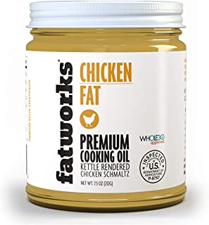 product image for Fatworks 100% Organic Non-GMO, Chicken Fat (Schmaltz) for Medium High-Heat Cooking, Frying, Baking, Soups, Dressings and Marinades, 7.5 oz