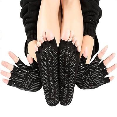 3 Pairs Women Yoga Socks and Gloves Set, Toeless Non Slip Skid Grip
