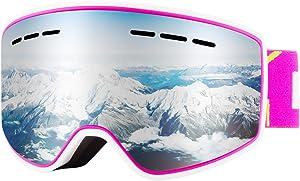 Karsaer Ski Goggles Snowboard Goggles UV Protection Snow Goggles for Men Women Teenager Anti Fog OTG