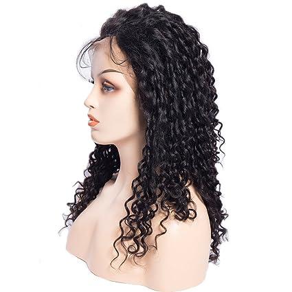 Maxine - Peluca de pelo humano de 180% de densidad para mujeres negras, pelo virgen brasileño sin pegamento, pelucas frontales con pelo de bebé, ...
