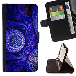 Momo Phone Case / Flip Funda de Cuero Case Cover - Fondo de pantalla azul púrpura Dibujo Dise?o Arte - Samsung Galaxy S5 V SM-G900