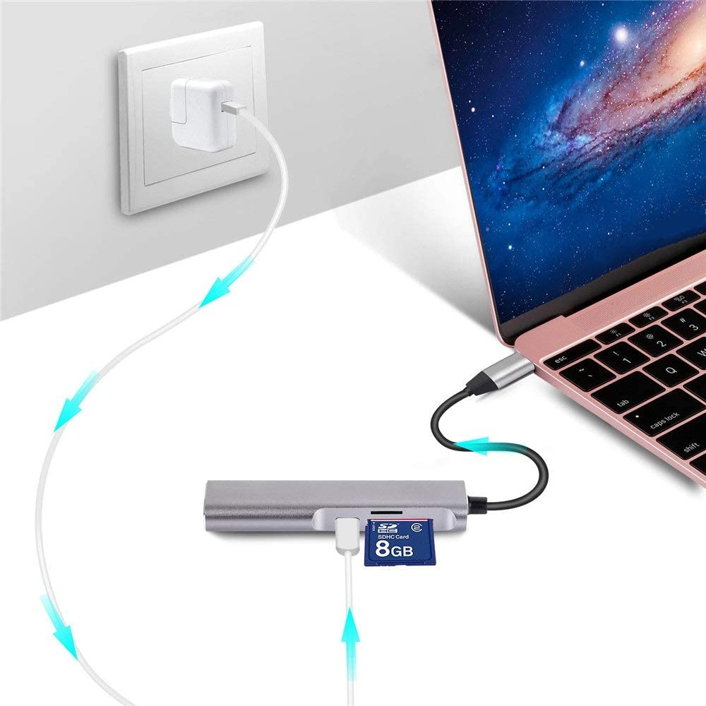 Dygzh USB C Hub 5 in 1 Hub Portable Aluminium Portable Extension Data Hub with 4K HDMI SD and TF Card Reader with Type-c Charging Port 1 USB 3.0 Port for Laptop Type C Devices