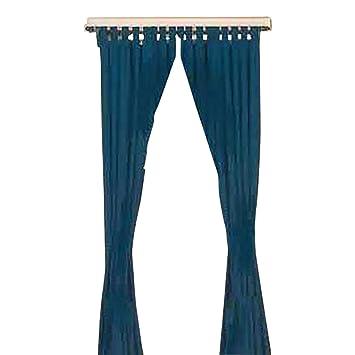 Amazon.com: Curtains Navy 100% Cotton Tab Top Curtains 84 X 80 ...