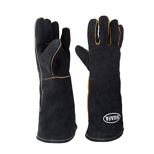 Guantes de horno,HUAFA Cuero resistente al calor guantes para ...