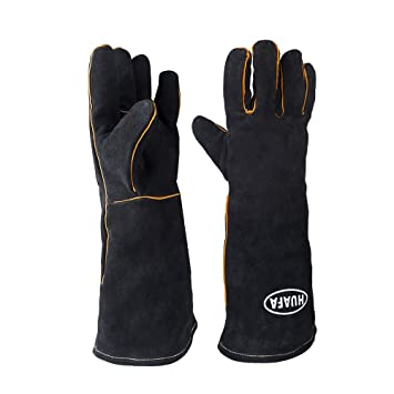 Guantes de horno,HUAFA Cuero resistente al calor guantes para hornear,guantes de barbacoa