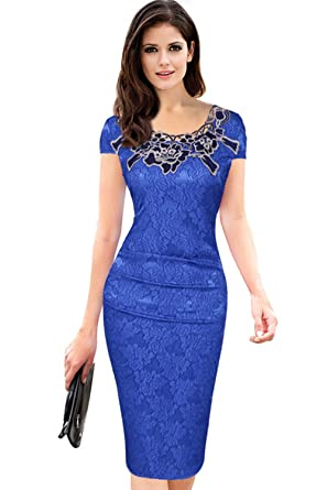 7c838f1788a33c Misshow Abendkleid Kurz Damen Elegantes Kurzarm Slim Knielänge Prom Kleid