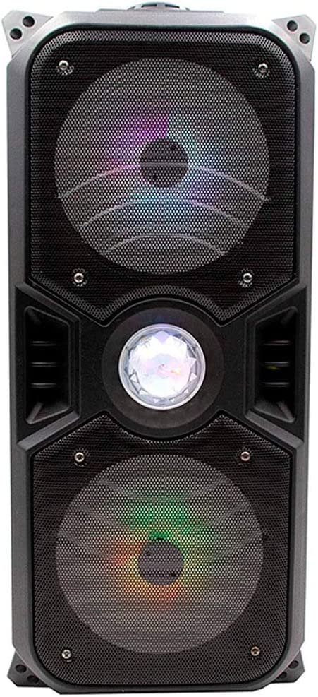 Lauson LLX33 Altavoz Bluetooth Portatil con Efecto de Luces Multicolores LED | Bluetooth Speaker con Lector USB MP3 | Altavoz Karaoke con Radio Integrada, Bateria 12 h Carga Incluye Micrófono