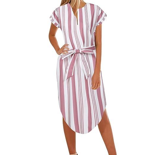 d39d5ed28f50 Corriee Ladies Bohemian Striped Short Sleeve Loose Fit Tie Waist Midi Dress  Sundress Womens Summer Casual