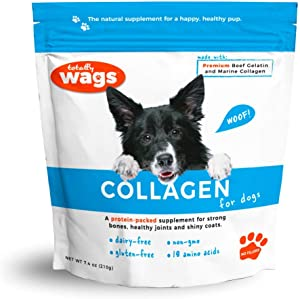 Totally Wags Collagen for Dogs: Pet Superfood, All Natural Food Topper; Joint, Coat, & Digestive Support
