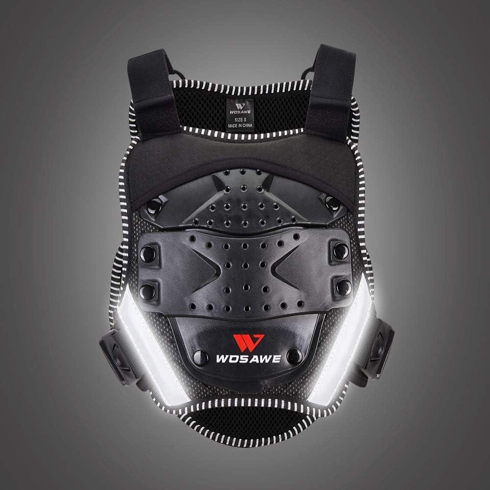 Protecteur de Coffre et d/épine V/élo R/éfl/échissant Armure /Équipement de Protection WOSAWE Gilet de Protection pour Enfants
