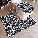 yinchuyindianzi Bath Mat English Springer Spaniel Floral 3 PCS Bath Mat Bathroom Kitchen Carpet Doormats Bath Rug Set 3
