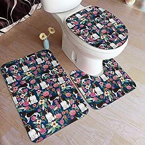 yinchuyindianzi Bath Mat English Springer Spaniel Floral 3 PCS Bath Mat Bathroom Kitchen Carpet Doormats Bath Rug Set 1