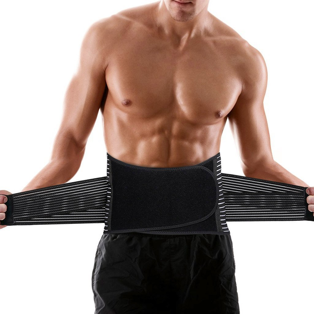 ENKEEO Lumbar Lower Back Brace and Support Belt with Breathable Mesh and Dual Adjustable Straps for Back Pain & Stress Relief