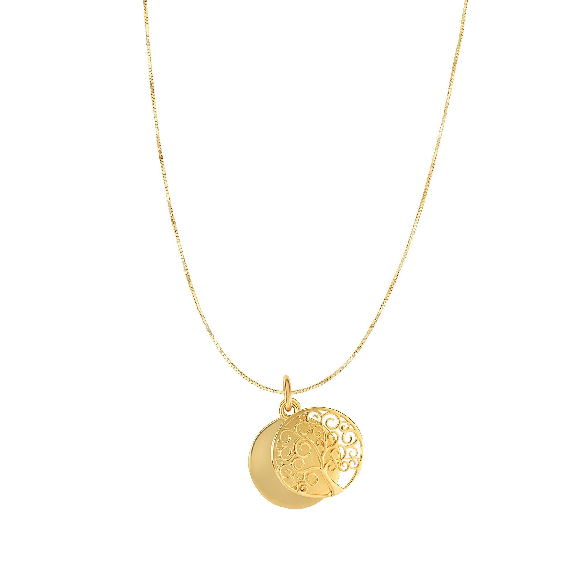 14kt Gold Yellow Finish 15x20mm High Polished Round Tree of Life Pendant on 14kt Gold 18'' Yellow Finish 0.49mm Shiny Square Classic Box Chain with Lobster Clasp