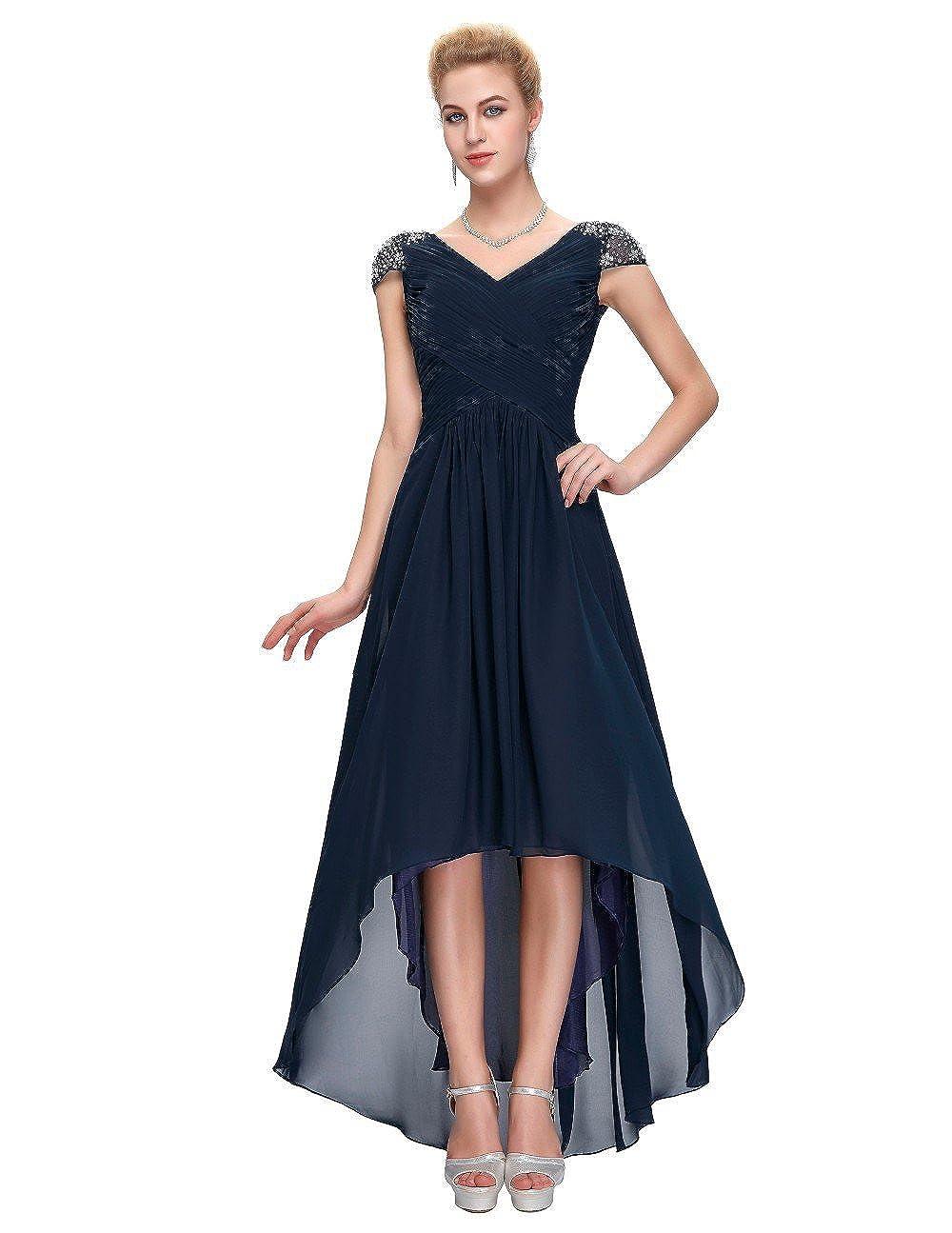 女性用ドレス、ビーズ付きVネックシフォンイブニングドレス/ウェディングドレス B07FMGBS5M 10# ブルー ブルー 10#