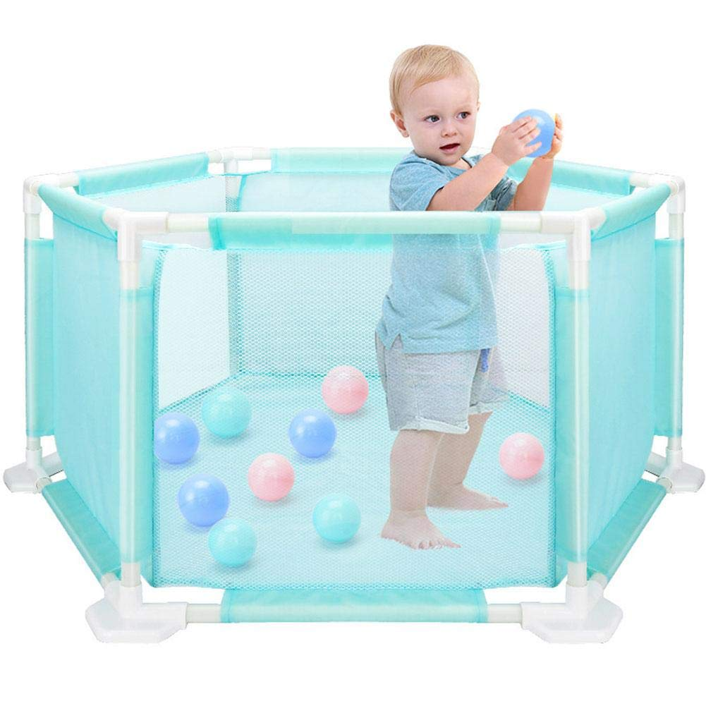 blue--net Portable Children's Hexagonal Playard Indoor and Outdoor, Portable & Travel Playpen Tent Ball Pool Play House Play Space for Children Baby Infant Kid Child