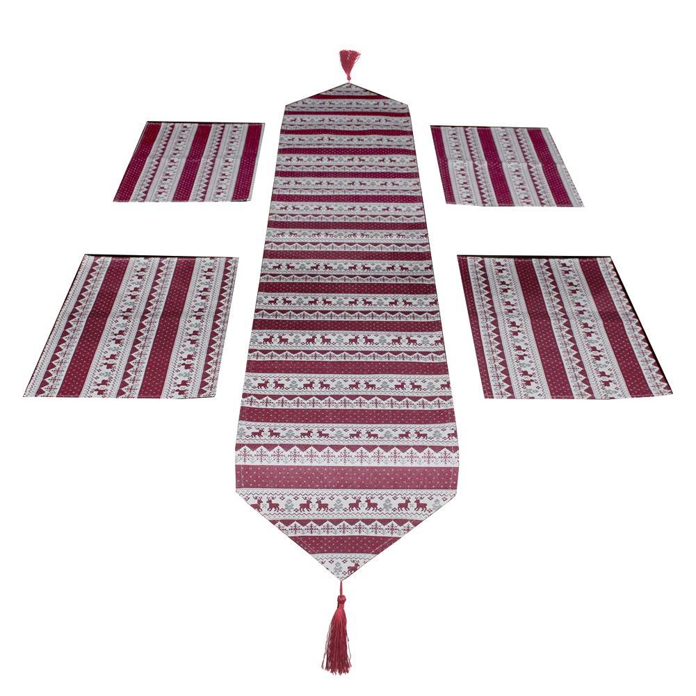 S SUNINESS クリスマステーブルランナー プレースマット付き クリスマス プレースマット 洗濯可能 コーヒー ダイニングテーブルマットセット (プレースマット4枚+テーブルランナー4枚、赤)、80 x 12.4インチ   B07K6FT57K
