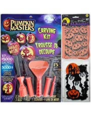 Raincoast Goods Pumpkin Masters Pumpkin Carving Kit and Treat Bag Bundle of 2 Items Including 1 Carving Kit and 1 Package of 60 Terrifying Treat Bags (4 X 6)