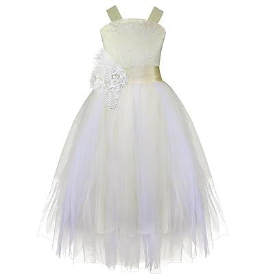 site réputé a8491 254b7 IEFIEL Robe de Baptême,Robe Demoiselle Honneur, Robe Mariage Fille  Champagne Fleur Robe 2-14 Ans