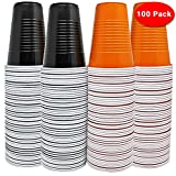 THE TWIDDLERS 100 Large Halloween Themed Plastic Cups - 50 Orange & 50 Black - Perfect for Beer Pong - House Parties - BBQ's Etc