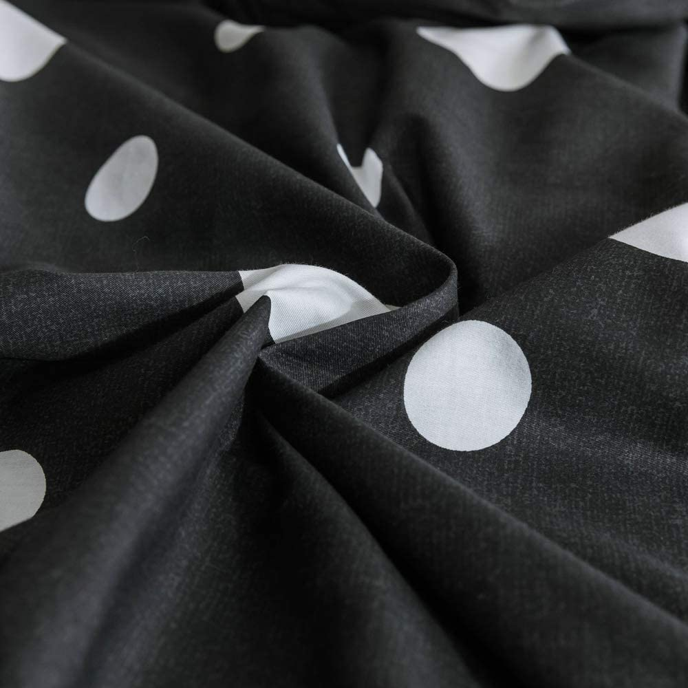 Modern Geometric Duvet Cover Set Queen Black White Dots Cotton Bedding Set Full Hotel Quality Reversible Comforter Cover Set Ultra Soft Luxury Geometric Bedding Collection Full Queen Bed